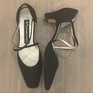 VTG Nima Comfort Matte Black Square Toe Low Heels